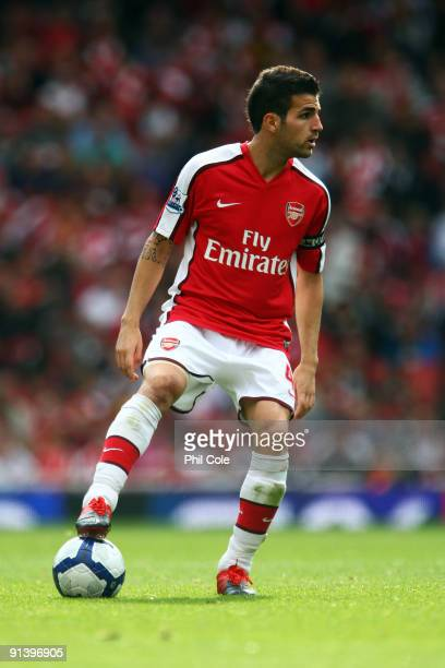 Cesc Fabregas of Arsenal controls the ball during the Barclays Premier League match between Arsenal and Blackburn Rovers at Emirates Stadium on...