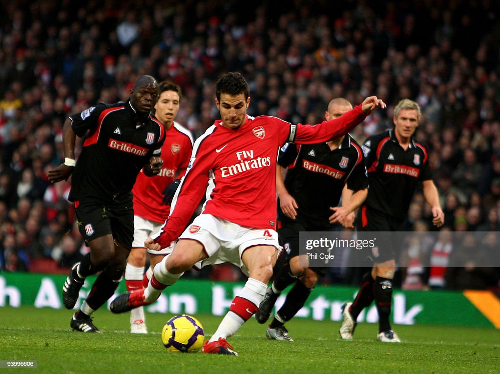 Cesc Fabregas of Arsenal has his penalty saved by Thomas Sorensen of Stoke City during the Barclays Premier League match between Arsenal and Stoke City at the Emirates Stadium on December 5, 2009 in London, England.