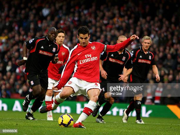 Cesc Fabregas of Arsenal has his penalty saved by Thomas Sorensen of Stoke City during the Barclays Premier League match between Arsenal and Stoke...