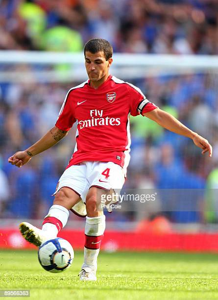 Cesc Fabregas of Arsenal passes the ball during the Emirates Cup match between Arsenal and Glasgow Rangers at the Emirates Stadium on August 2 2009...