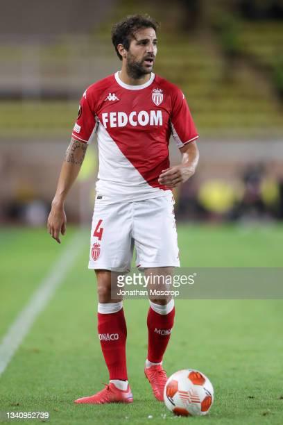 Cesc Fabregas of AS Monaco controls the ball during the UEFA Europa League group B match between AS Monaco and Sturm Graz at Stade Louis II on...
