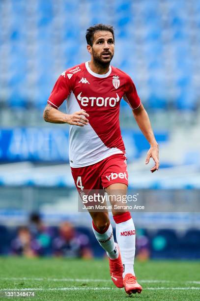 Cesc Fabregas of AS Monaco in action during the Friendly Match between Real Sociedad and As Monaco at Reale Arena on July 28, 2021 in San Sebastian,...