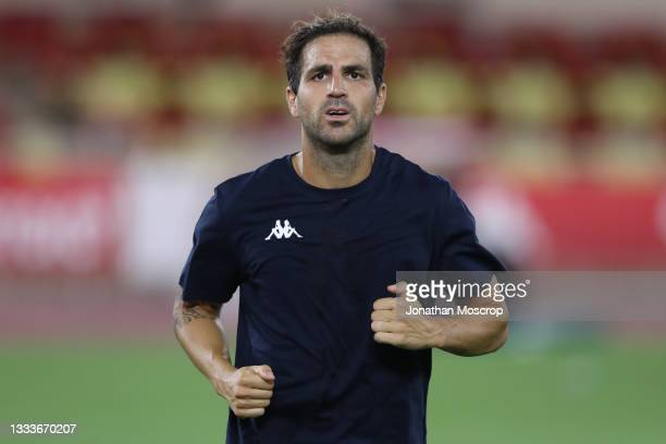 Cesc Fabregas of AS Monaco pictured as he warms down following the final whistle of the UEFA Champions League Third Qualifying Round 2nd Leg match...