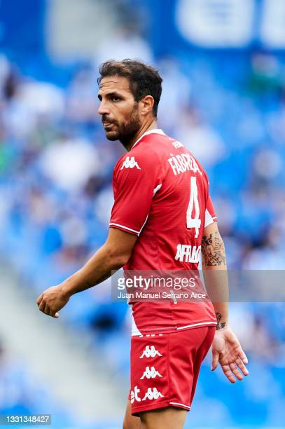 Cesc Fabregas of AS Monaco reacts during the Friendly Match between Real Sociedad and As Monaco at Reale Arena on July 28, 2021 in San Sebastian,...