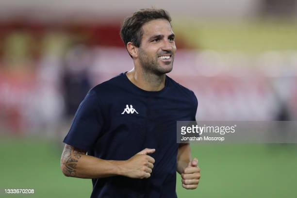 Cesc Fabregas of AS Monaco smiles as he warms down following the final whistle of the UEFA Champions League Third Qualifying Round 2nd Leg match...
