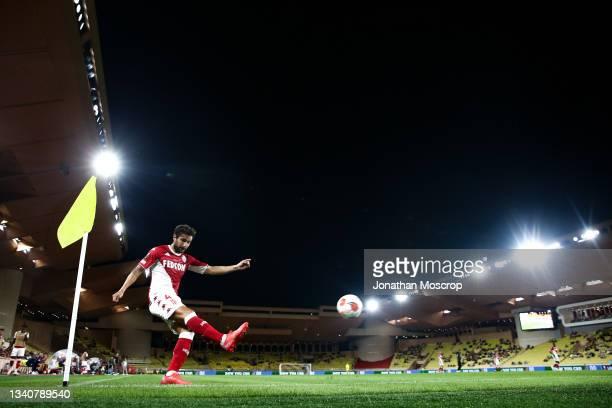 Cesc Fabregas of AS Monaco takes a corner kick during the UEFA Europa League group B match between AS Monaco and Sturm Graz at Stade Louis II on...
