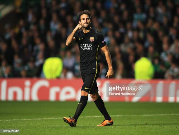 Cesc Fabregas of Barcelona celebrates as he scores their first goal during the UEFA Champions League Group H match between Celtic and FC Barcelona at...