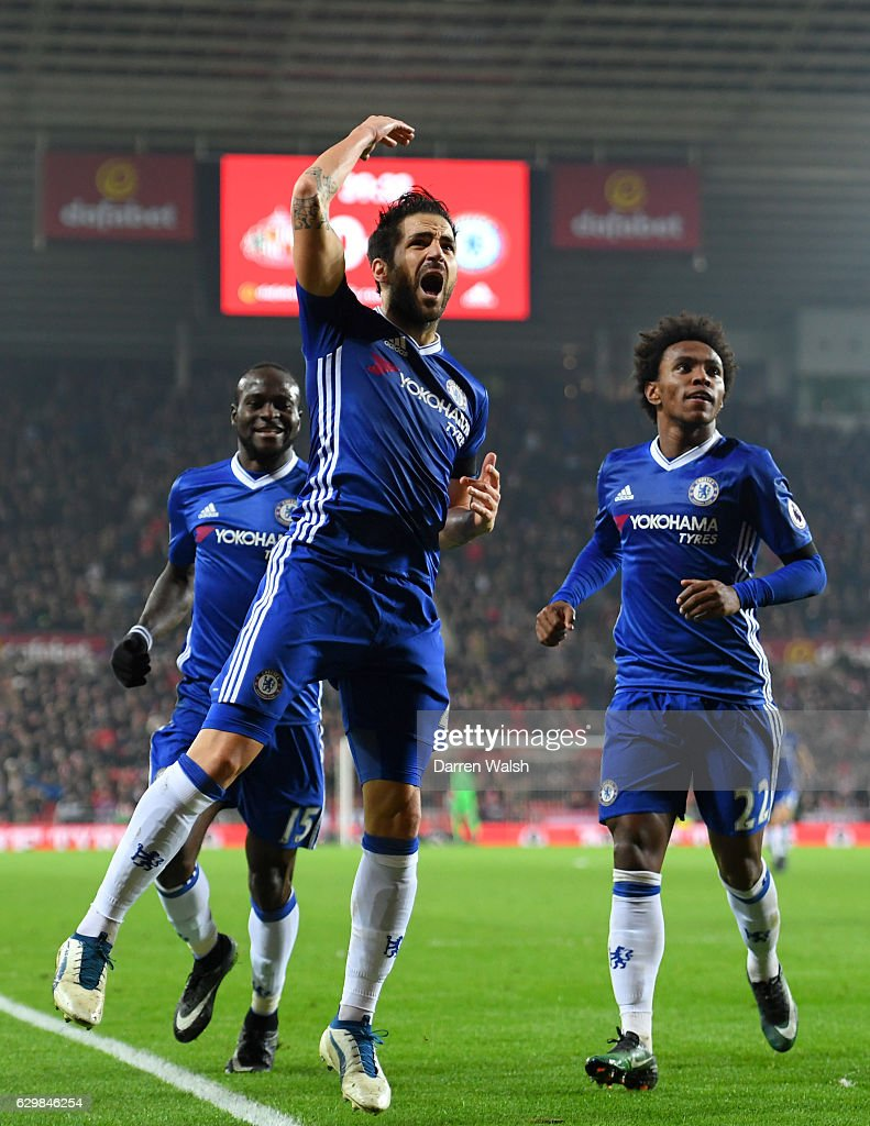 Cesc Fabregas of Chelschallenges celebrates scoring his sides first goal during the Premier League match between Sunderland and Chelsea at Stadium of Light on December 14, 2016 in Sunderland, England.