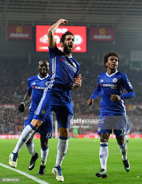 Cesc Fabregas of Chelschallenges celebrates scoring his sides first goal during the Premier League match between Sunderland and Chelsea at Stadium of...