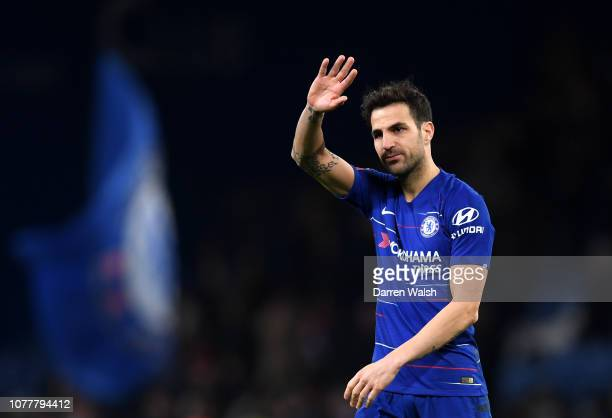 Cesc Fabregas of Chelsea acknowledges the fans after the FA Cup Third Round match between Chelsea and Nottingham Forest at Stamford Bridge on January...