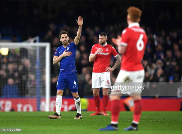Cesc Fabregas of Chelsea acknowledges the fans as he leaves the pitch to be subbed during the FA Cup Third Round match between Chelsea and Nottingham...