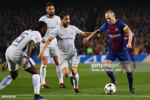 Cesc Fabregas of Chelsea and Andres Iniesta of FC Barcelona during the UEFA Champions League Round of 16 Second Leg match FC Barcelona and Chelsea FC...