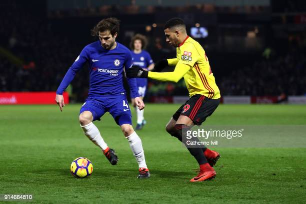 Cesc Fabregas of Chelsea and Etienne Capoue of Watford during the Premier League match between Watford and Chelsea at Vicarage Road on February 5...