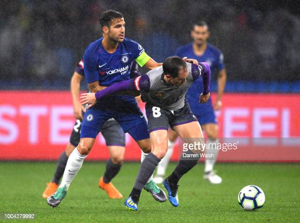 Cesc Fabregas of Chelsea and Neil Kilkenny of Perth Glory during the international friendly between Chelsea FC and Perth Glory at Optus Stadium on...