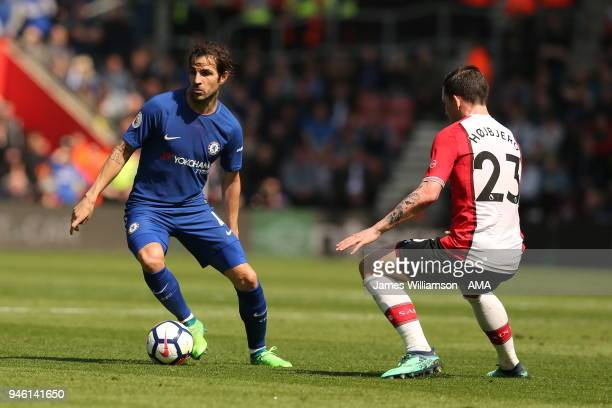 Cesc Fabregas of Chelsea and PierreEmile Hojbjerg of Southampton during the Premier League match between Southampton and Chelsea at St Mary's Stadium...
