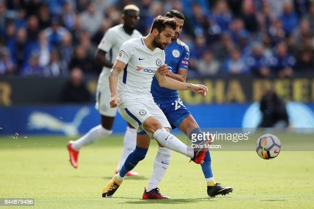 Cesc Fabregas of Chelsea and Riyad Mahrez of Leicester City during the Premier League match between Leicester City and Chelsea at The King Power...
