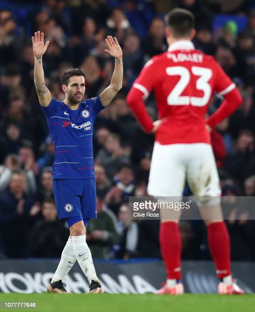 Cesc Fabregas of Chelsea applauds the fans during the FA Cup Third Round match between Chelsea and Nottingham Forest at Stamford Bridge on January 5...
