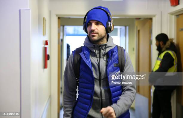 Cesc Fabregas of Chelsea arrives at Stamford Bridge ahead of the Premier League match between Chelsea and Leicester City at Stamford Bridge on...
