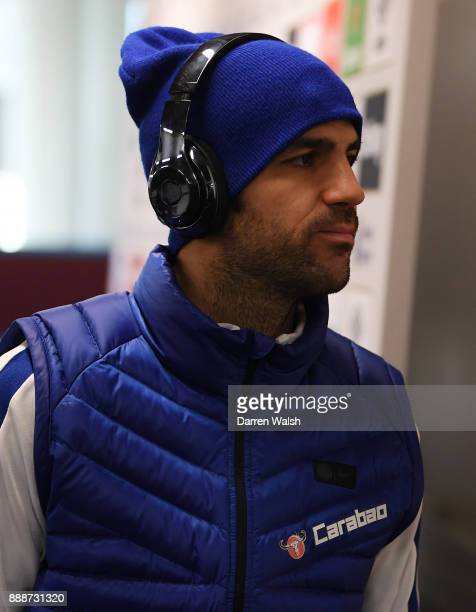 Cesc Fabregas of Chelsea arrives at the stadium prior to the Premier League match between West Ham United and Chelsea at London Stadium on December 9...