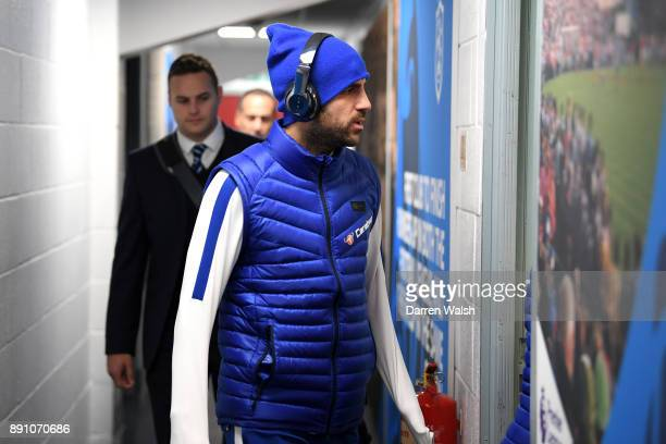 Cesc Fabregas of Chelsea arrives at the stadium prior to the Premier League match between Huddersfield Town and Chelsea at John Smith's Stadium on...