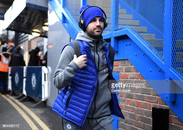 Cesc Fabregas of Chelsea arrives at the stadium prior to the Premier League match between Chelsea and Leicester City at Stamford Bridge on January 13...
