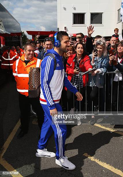Cesc Fabregas of Chelsea arrives prior to the Barclays Premier League match between AFC Bournemouth and Chelsea at the Vitality Stadium on April 23...