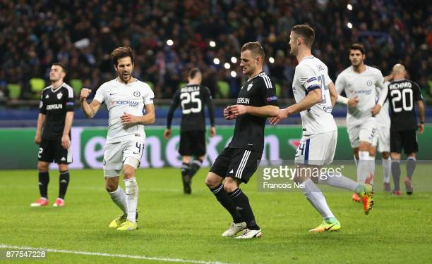 Cesc Fabregas of Chelsea celebrates after scoring his sides third goal during the UEFA Champions League group C match between Qarabag FK and Chelsea...