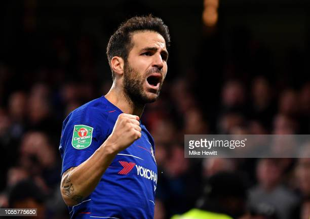 Cesc Fabregas of Chelsea celebrates after scoring his team's third goal during the Carabao Cup Fourth Round match between Chelsea and Derby County at...