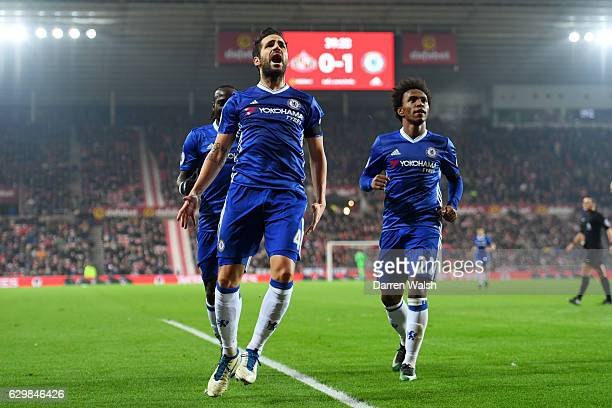 Cesc Fabregas of Chelsea celebrates scoring his sides first goal during the Premier League match between Sunderland and Chelsea at Stadium of Light...