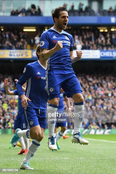 Cesc Fabregas of Chelsea celebrates scoring his sides first goal during the Premier League match between Chelsea and Crystal Palace at Stamford...