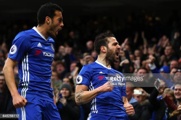 Cesc Fabregas of Chelsea celebrates scoring his sides first goal with Pedro of Chelsea during the Premier League match between Chelsea and Swansea...