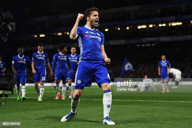 Cesc Fabregas of Chelsea celebrates scoring his sides fourth goal during the Premier League match between Chelsea and Watford at Stamford Bridge on...