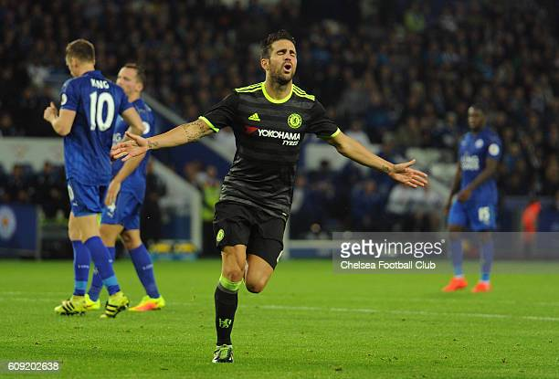 Cesc Fabregas of Chelsea celebrates scoring his team's third goal during the EFL Cup Third Round match between Leicester City and Chelsea at The King...