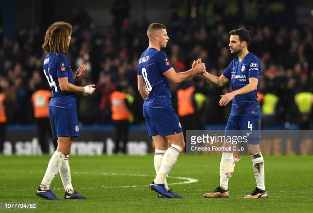 Cesc Fabregas of Chelsea celebrates victory with Ross Barkley of Chelsea after the FA Cup Third Round match between Chelsea and Nottingham Forest at...