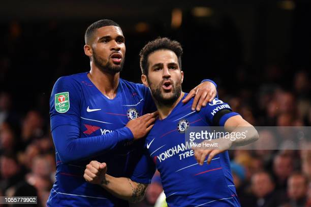 Cesc Fabregas of Chelsea celebrates with teammate Ruben LoftusCheek after scoring his team's third goal during the Carabao Cup Fourth Round match...