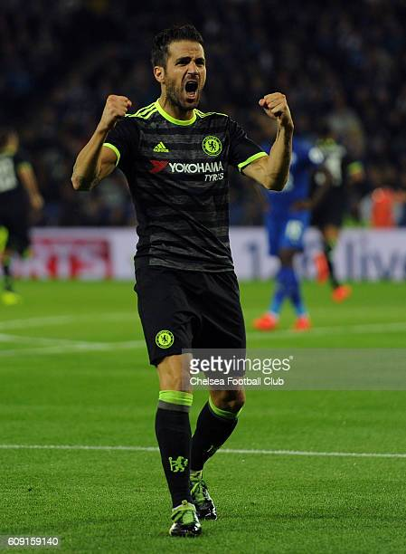 Cesc Fabregas of Chelsea celebreates after Cesar Azpilicueta of Chelsea scores his sides second goal during the EFL Cup Third Round match between...