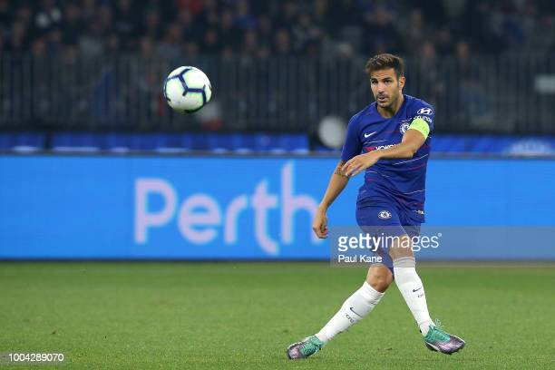 Cesc Fabregas of Chelsea crosses the ball during the international friendly between Chelsea FC and Perth Glory at Optus Stadium on July 23 2018 in...