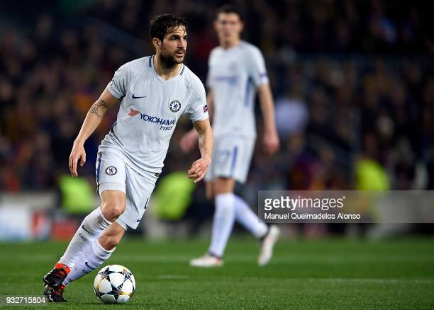 Cesc Fabregas of Chelsea drives the ball during the UEFA Champions League Round of 16 Second Leg match between FC Barcelona and Chelsea FC at Camp...