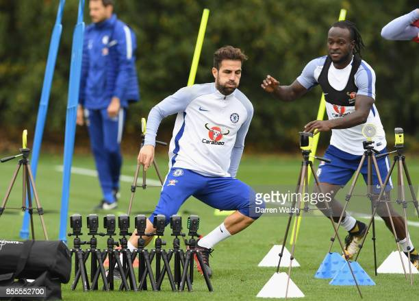 Cesc Fabregas of Chelsea during a reaction drill during a training session at Chelsea Training Ground on September 29 2017 in Cobham England