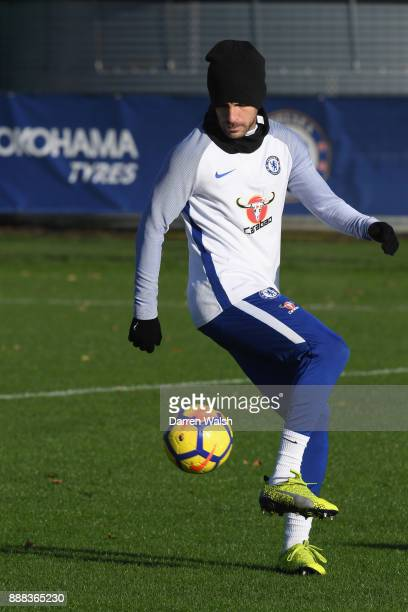 Cesc Fabregas of Chelsea during a training session at Chelsea Training Ground on December 8 2017 in Cobham England