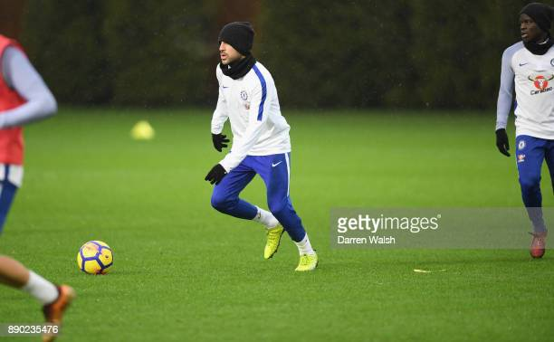 Cesc Fabregas of Chelsea during a training session at Chelsea Training Ground on December 11 2017 in Cobham England