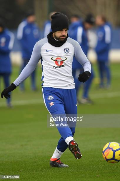 Cesc Fabregas of Chelsea during a training session at Chelsea Training Ground on January 12 2018 in Cobham England