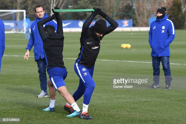 Cesc Fabregas of Chelsea during a training session at Chelsea Training Ground on February 23 2018 in Cobham United Kingdom