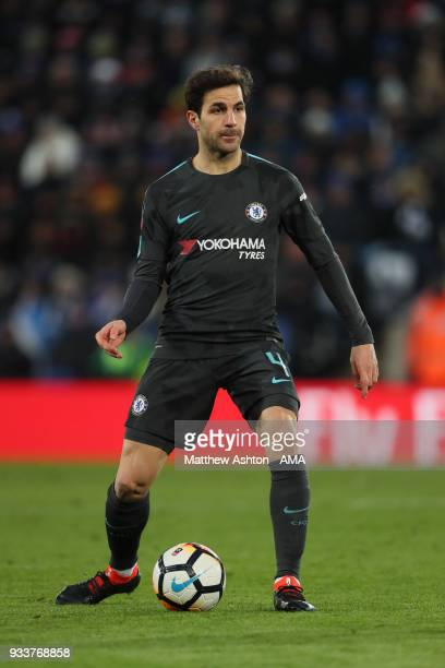 Cesc Fabregas of Chelsea during the FA Cup Quarter Final match between Leicester City and Chelsea at The King Power Stadium on March 18 2018 in...