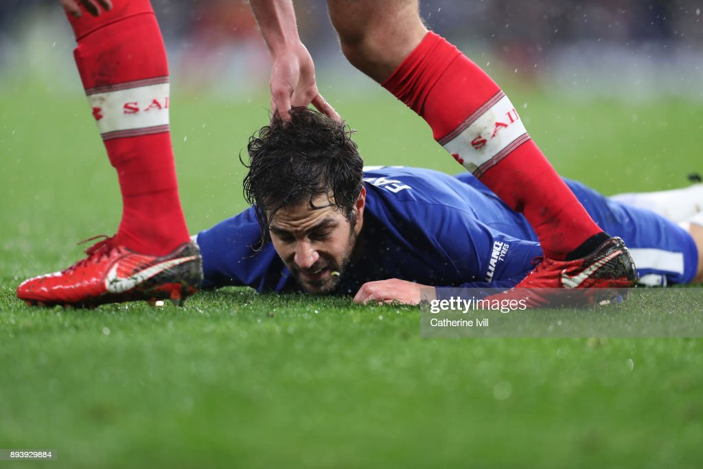 Cesc Fabregas of Chelsea during the Premier League match between Chelsea and Southampton at Stamford Bridge on December 16, 2017 in London, England.