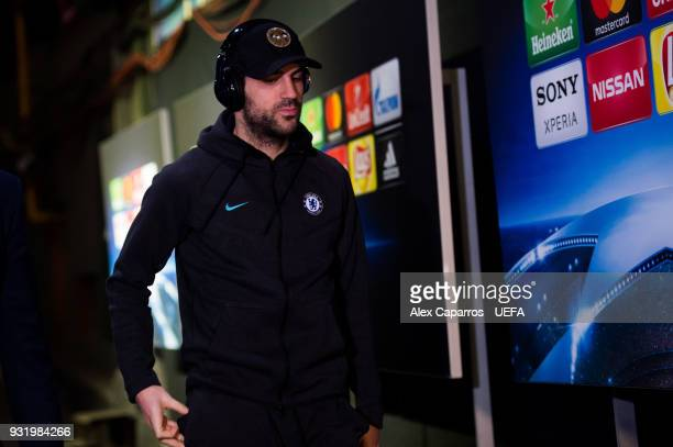 Cesc Fabregas of Chelsea FC arrives to the stadium ahead of the UEFA Champions League Round of 16 Second Leg match between FC Barcelona and Chelsea...