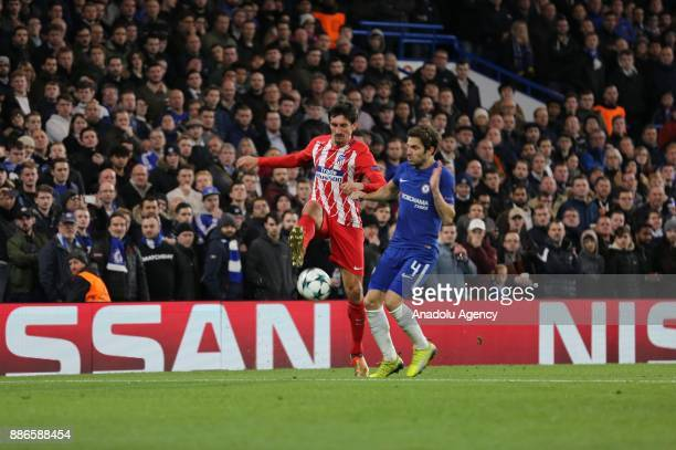 Cesc Fabregas of Chelsea FC in action during the UEFA Champions League soccer match between Chelsea FC and Atletico Madrid at Stamford Bridge in...