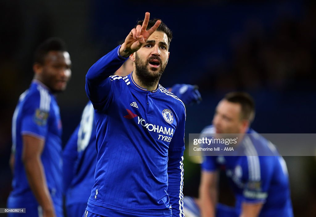 Cesc Fabregas of Chelsea gestures during the Barclays Premier League match between Chelsea and West Bromwich Albion at Stamford Bridge on January 13, 2016 in London, England.