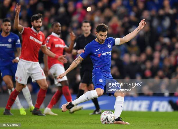 Cesc Fabregas of Chelsea has a penalty saved during the FA Cup Third Round match between Chelsea and Nottingham Forest at Stamford Bridge on January...