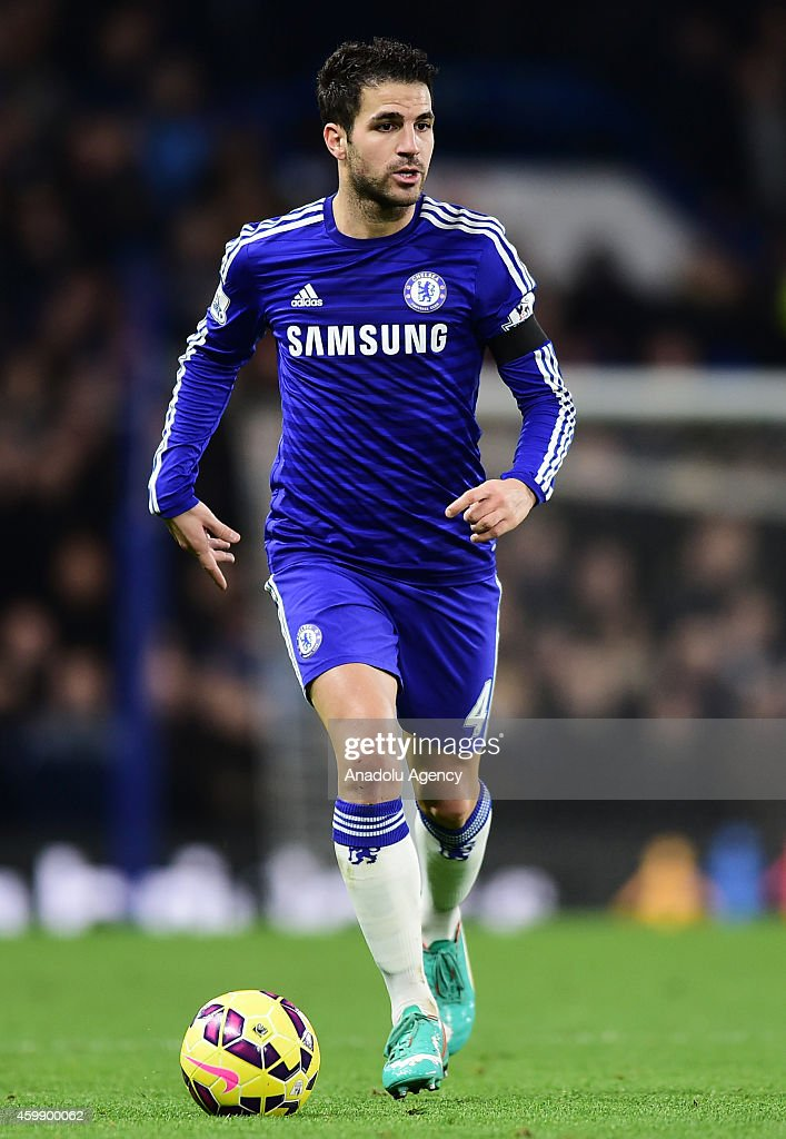 Cesc Fabregas of Chelsea in action during the Barclays Premier League match between Chelsea and Tottenham Hotspur at Stamford Bridge in London, England on December 03, 2014.